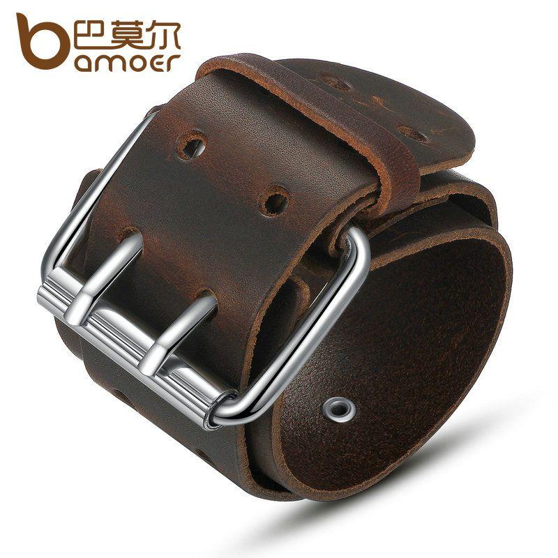BAMOER Simple Wide Genuine Leather Bracelet With Alloy Clasp Buckle Fashion Men Bracelets Best Gift PI0338-1