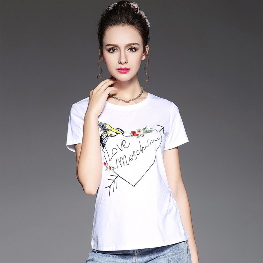 White Casual t Shirt Print Woman Loose Size Plus Heart t Shirt Femmes Japanese Style Summer Cropped Funny Women t-Shirt P6C1505