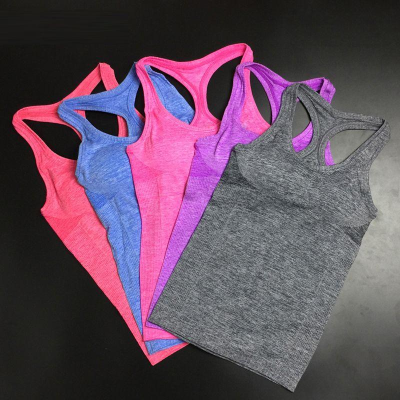 Femmes chemises élastique respirant Fitness confortable gilet dames gilet Double mouvement pas de jantes débardeur