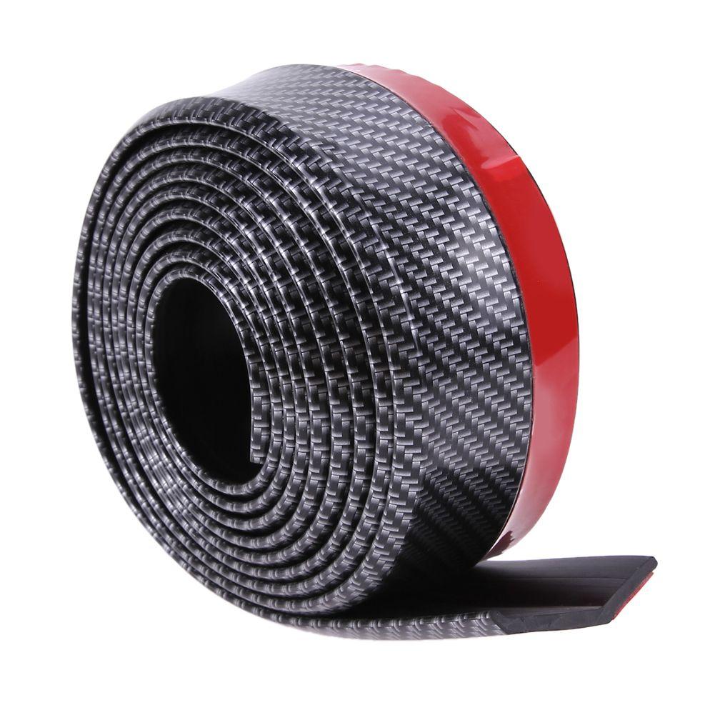 VODOOL Black Soft Carbon Fiber Car <font><b>Rubber</b></font> Bumper Strip Outside Bumper Front Lip High Quality for All Cars Exterior Parts