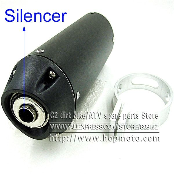 Pit Bike 38mm Exhaust Muffler with movable silencer Black dirt bike detuner Chinese motorcross motorcycle Kayo CRF KLX Apollo