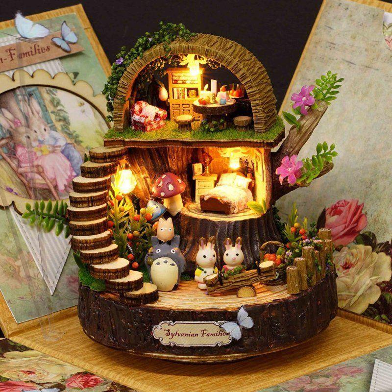 Bricolage assemblé résine Anime Cottages boîte à musique mon voisin Totoro cadeau d'anniversaire fantaisie forêt bonbons chat Figurine 1 pièce