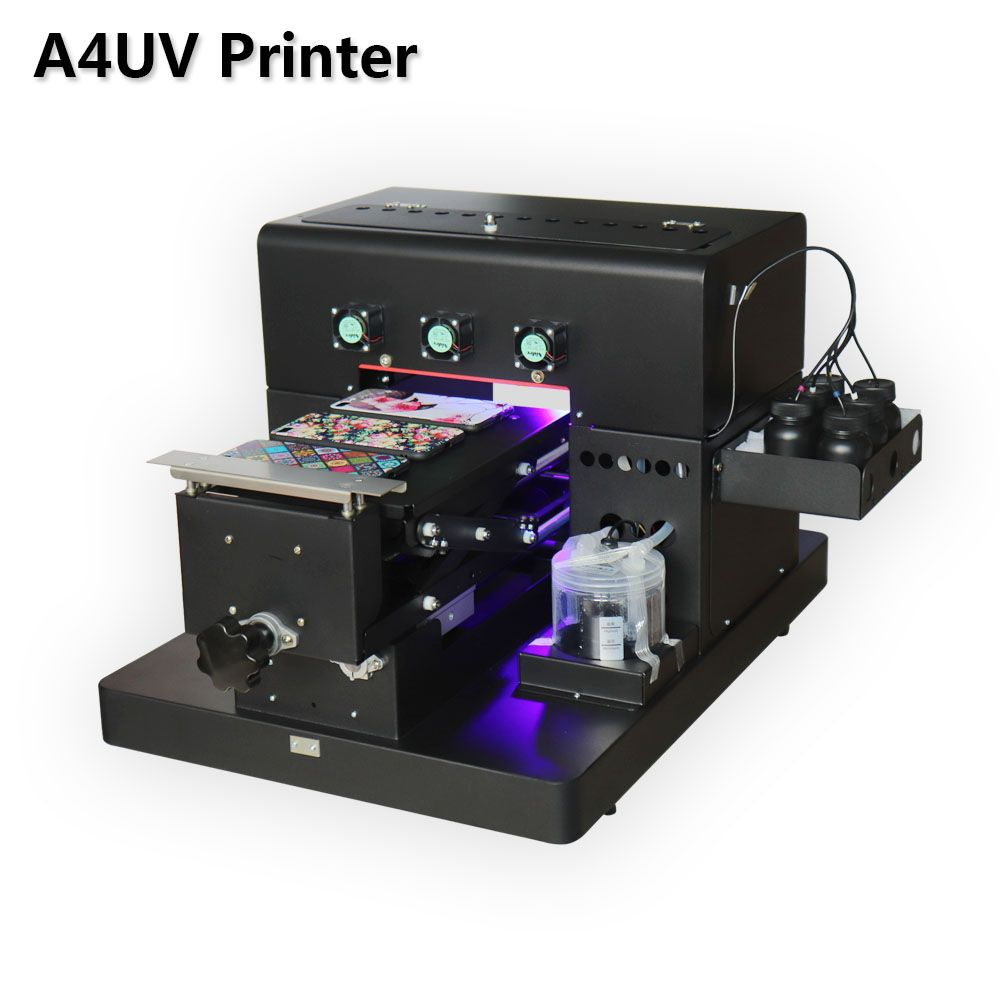 2019 A4 Kleine Größe LED UV Drucker mit relief wirkung Golf Uv-flachbettdrucker für Telefon Fall, Acryl, leder, TPU, Glas, ABS