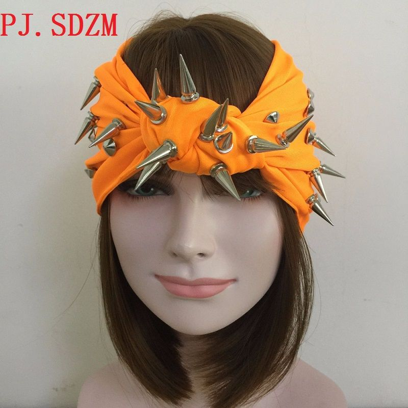 Hand Made Punk Rock Style Rivet Headbands Women Studs Turban Headband Night Club Hairbands Star Rivet Bandanas Hair Accessories