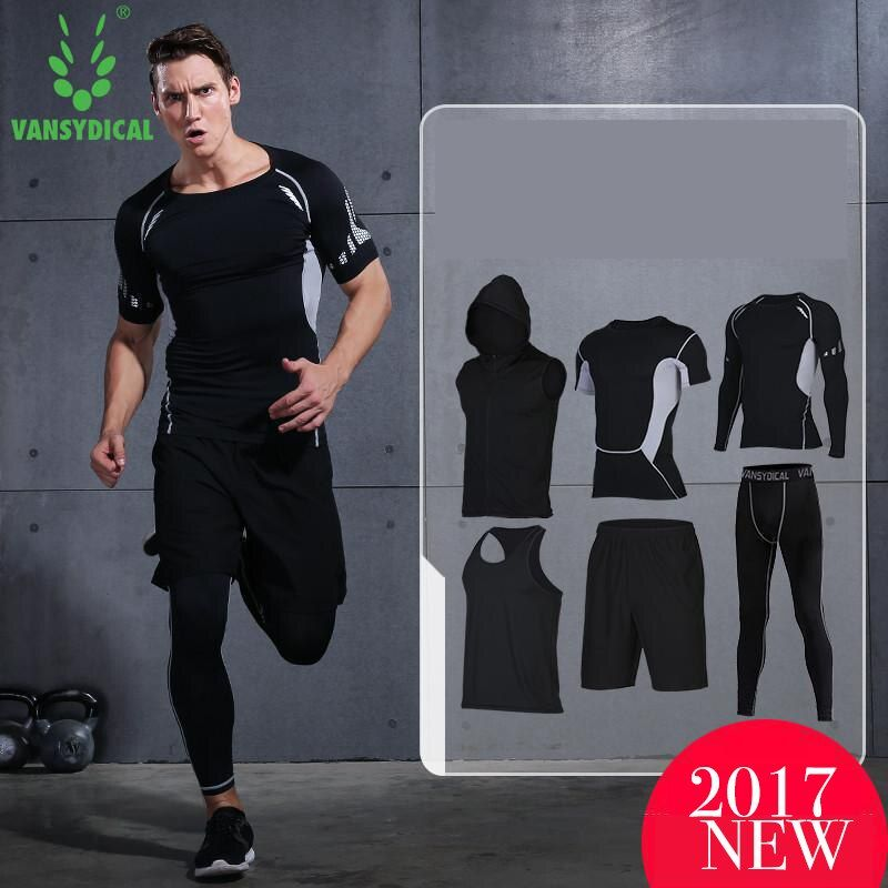 2017 Vansydical Men's Sport Running Suits Quick Dry Basketball Jersey soccer Training Tracksuits jersey Men Gym Clothing Sets