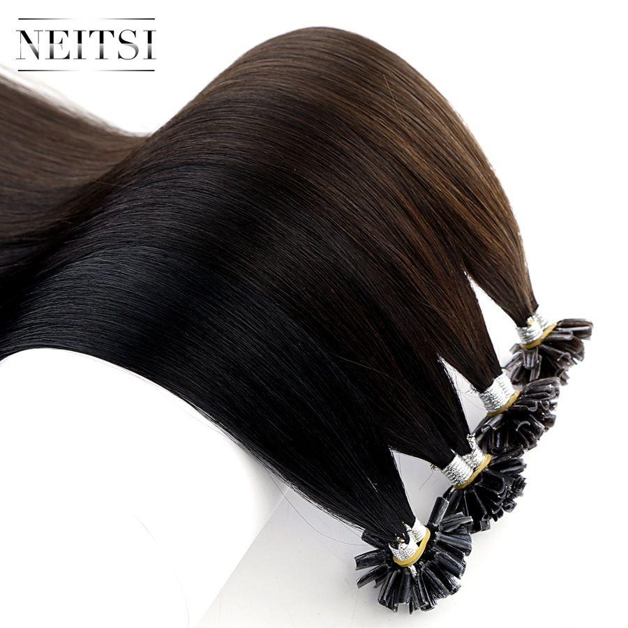 Neitsi Straight Remy Human Fusion Keratin Hair Nail U Tip Pre Bonded Capsules Hair Extension 16