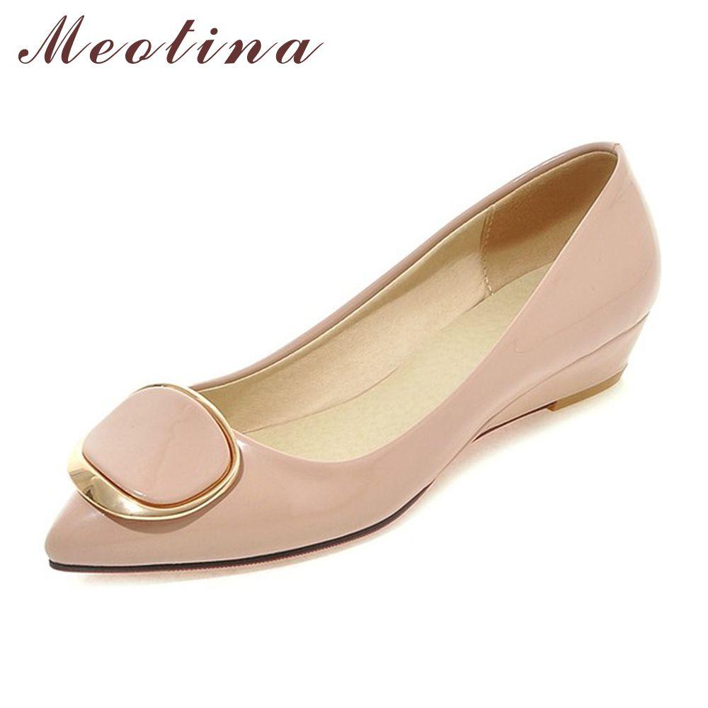 Meotina Femmes Chaussures Talons Compensés Chaussures De Mariée Printemps Talons Bas Pompes Dames Chaussures Pompes Glisser Sur Rose Blanc Gros taille 42 43