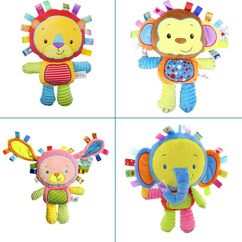 Compañero de juegos infantil suave apaciguar muñeca calma toys con anillo bb sonajeros regalo monky, elefante, León, Conejo