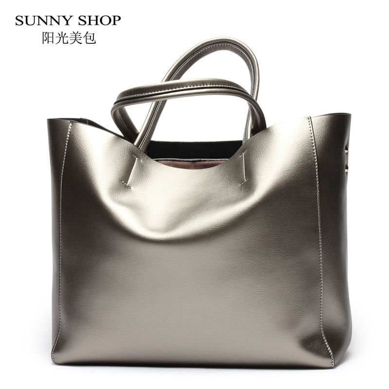 SUNNY SHOP American Luxury 100% Genuine Leather Women Shoulder Bag Brand Designer Cowhide Real leather women bag A4 Available