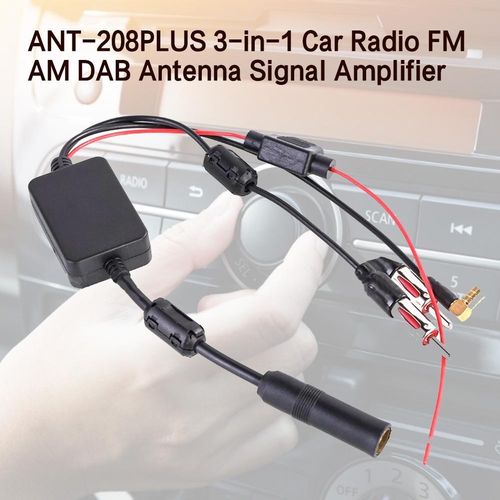 Pour universel 12V Auto ANT-208PLUS 3-en-1 autoradio FM AM DAB antenne Signal amplificateur