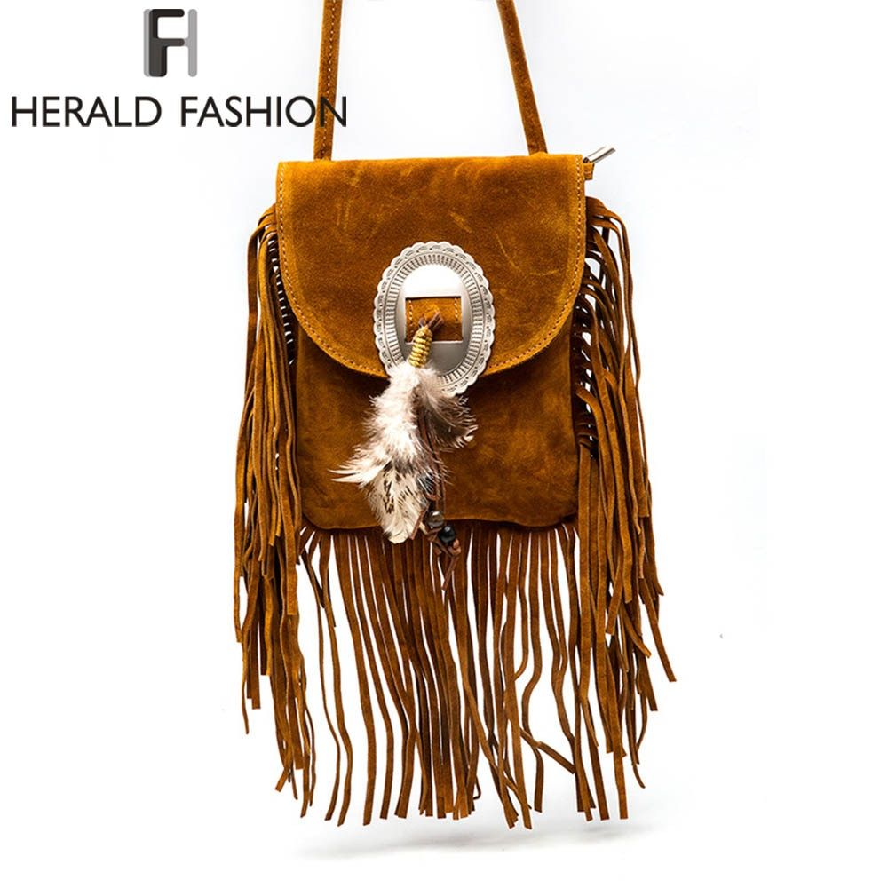Women Pu Leather Bag Female Fashion Shoulder Bags Famous Brand Crossbody Bags Fringe Tassel Women Messenger Bags herald fashion