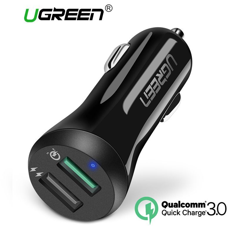 Ugreen Car USB Charger Quick Charge 3.0 Mobile Phone Charger 2 Port USB Fast Car Charger for Samsung Xiaomi Tablet Charger