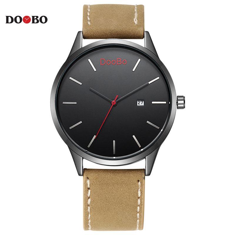 DOOBO Marca de Lujo Original Relogio masculino Fecha Reloj de Cuero Casual Hombres Cuarzo de Los Deportes Militares Reloj Hombre Reloj 2017