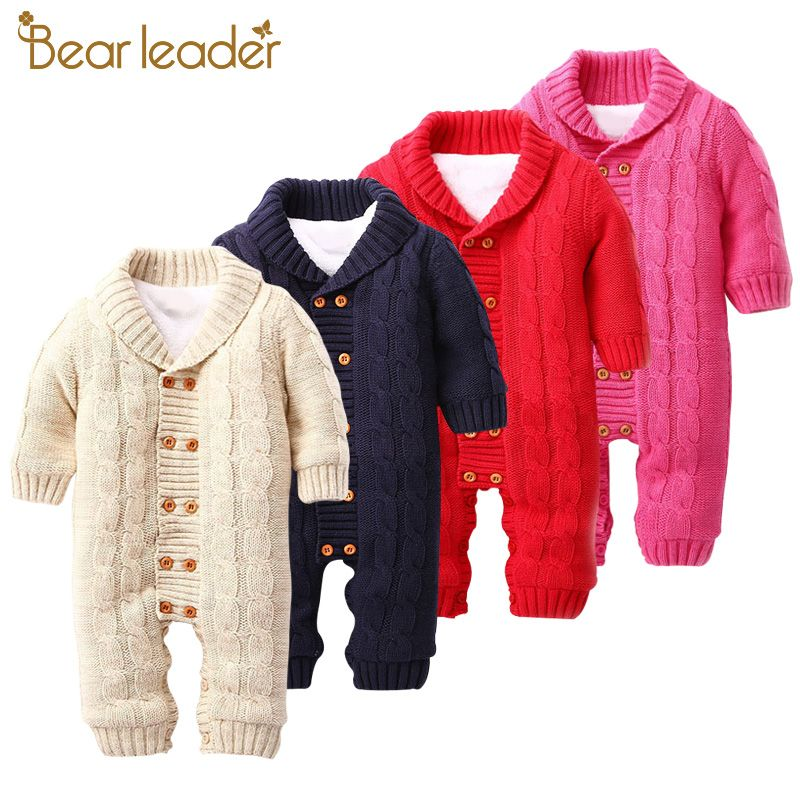 Bear Leader Baby Rompers 2017 Autumn&Winter Baby Clothing Double-Breasted Turn-down Collar Baby Jumpsuits Sweater For 12-24M