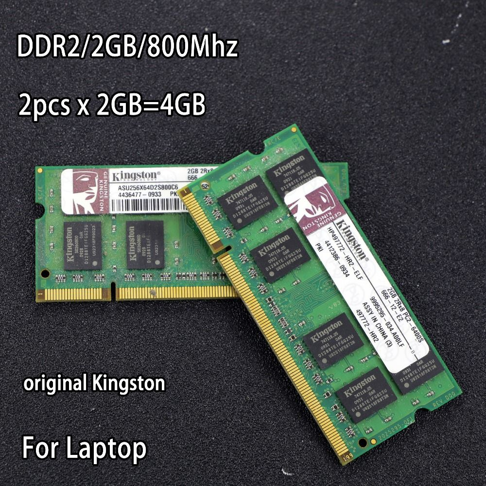 Original Kingston DDR2 2GB 800MHz 667Mhz 800 PC2-6400 DDR 2 x 2G 4GB notebook memory Laptop RAM 200PIN SODIMM for <font><b>intel</b></font> for amd
