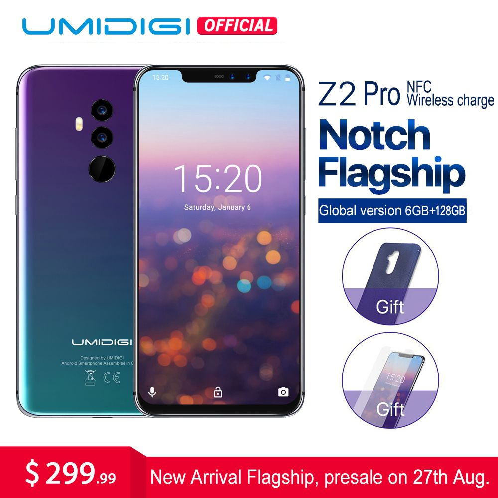 UMIDIGI Z2 Pro 6.2Full screen smartphone Android 8.1 6GB+128GB Helio P60 16MP Quad Lens 4G LTE NFC Wireless charge Mobile phone