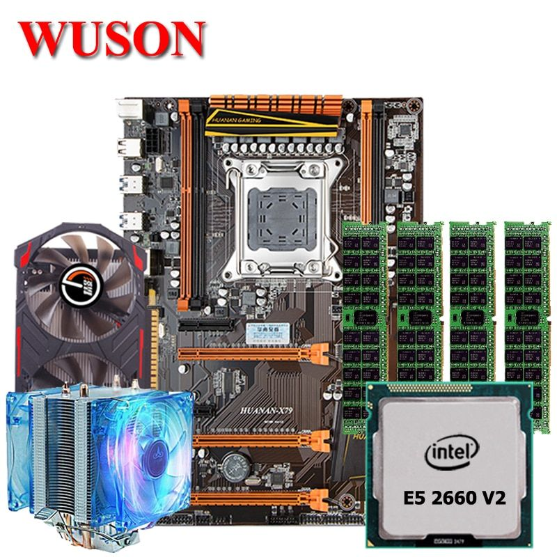 Brand HUANAN Deluxe X79 motherboard combos X79 LGA2011 processor Xeon E5 2660 V2 memory 32G GTX750 2G video card all tested