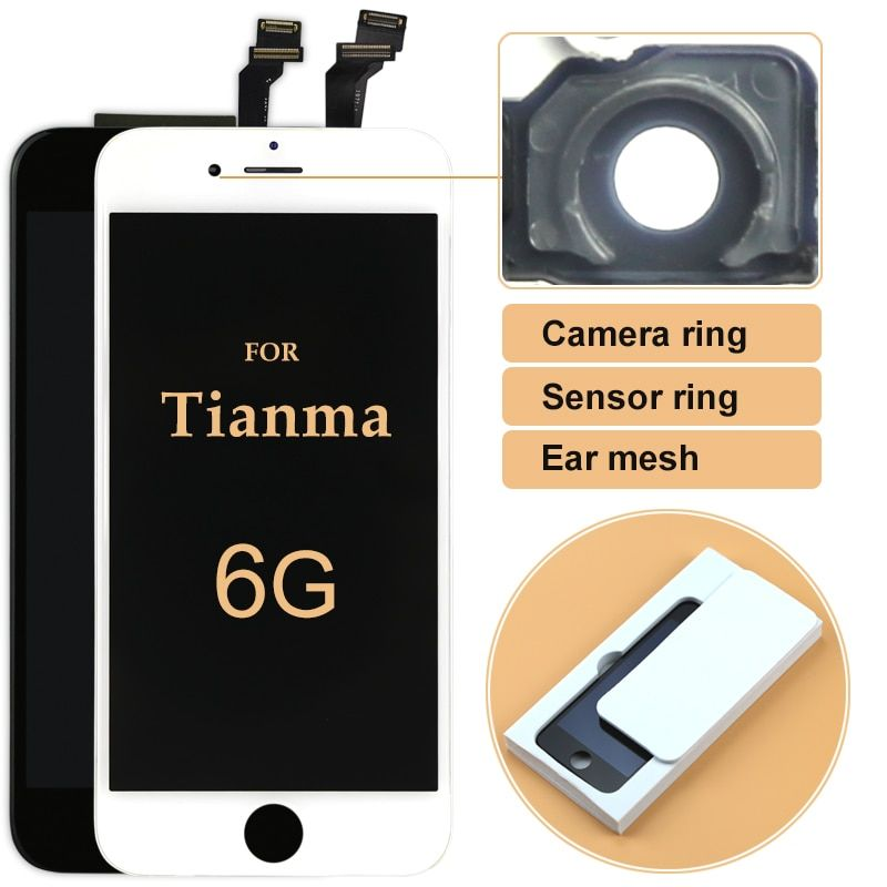 TOP quality for tianma 10 pcs LCD Display For iPhone 6 lcd4.7 inch Touch Screen Digitizer Assembly +camera ring free DHL