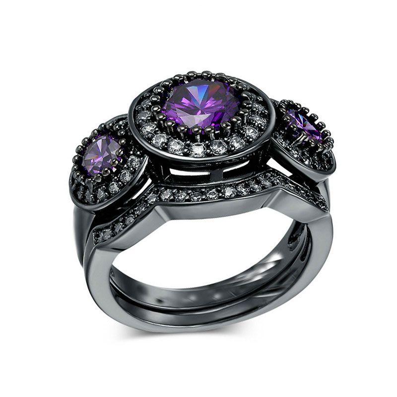 Vendimia de La manera de Las Mujeres Anillo de Cristal Púrpura Negro Gold Filled Zircon Crystal Wedding 2 Unidades Anillos