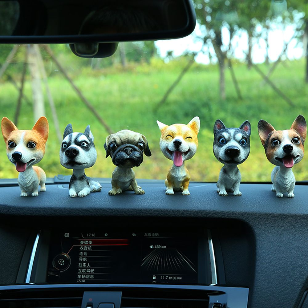 KAWAII Shaking Head Quality Miniature Resin Dog Puppy Figurines Car Ornaments Table Home Garden Ornament Decoration Car Styling
