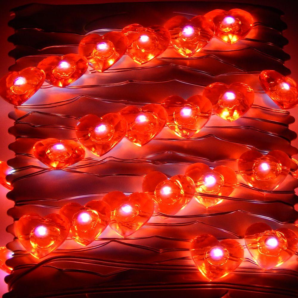 3 M 40 LED s batterie LED en forme de coeur guirlandes lumineuses étoilées pour la fête des mères saint valentin décoration de fête de mariage