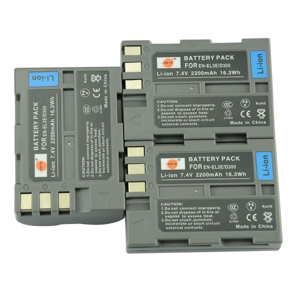 DSTE 3pcs EN-EL3E en-el3e Rechargeable Battery for Nikon D70 D70S D80 D90 D100 D200 D300 D300S D700 Camera