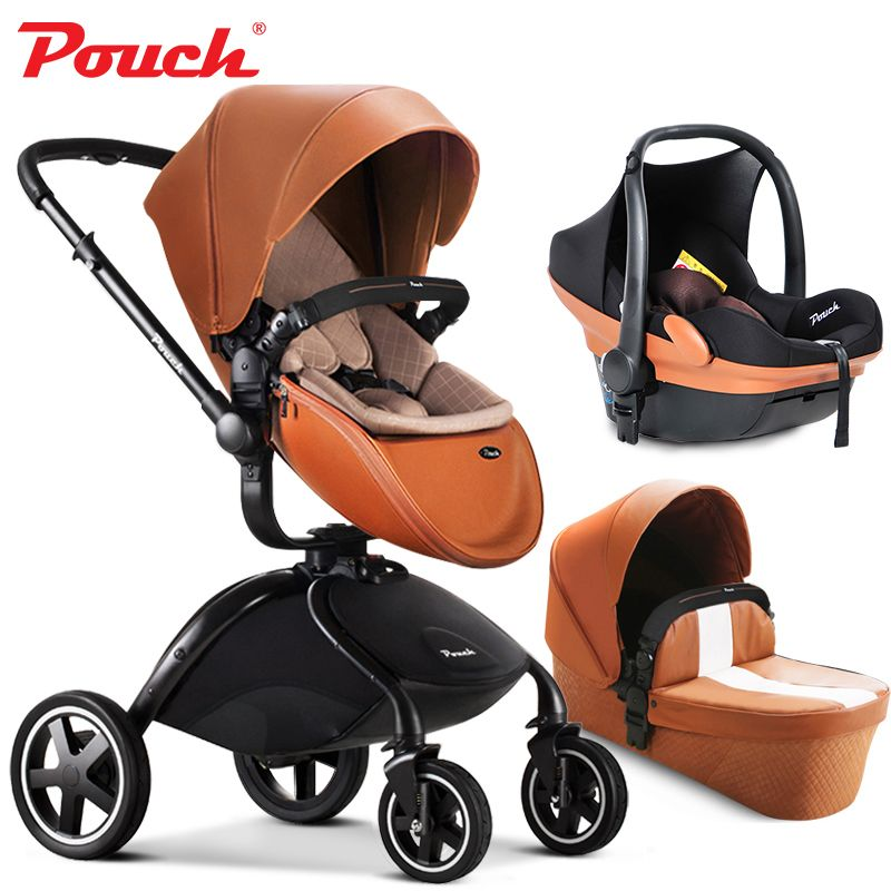 Brand baby strollers 3 in 1 baby car folding light baby stroller with car seat and baby bassinet Leather pouch 2 in 1 newborn