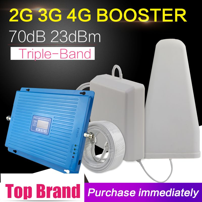 600m2 2G 3G 4G 70dB Cellular Signal Booster GSM 900 DCS LTE 1800mhz WCDMA 2100mhz Repeater 3G 4G LTE 1800 Amplifier Antenna Set