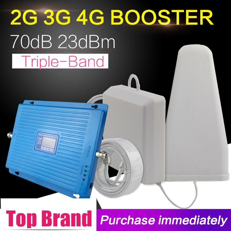 600m2 2G 3G 4G 70dB Cellular Signal Booster GSM 900 DCS LTE 1800mhz WCDMA 2100mhz Signal Repeater 4G LTE 1800 Signal Amplifier
