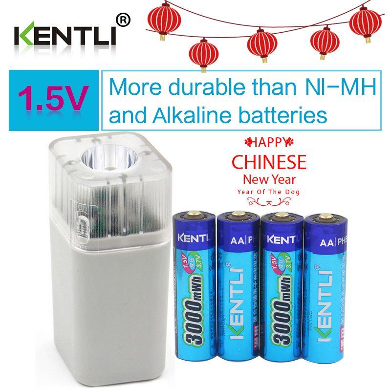 4 stücke KENTLI 1,5 v 3000mWh Li-polymer li-ion lithium wiederaufladbare AA batterie batterien + 4 slots Ladegerät mit led-taschenlampe