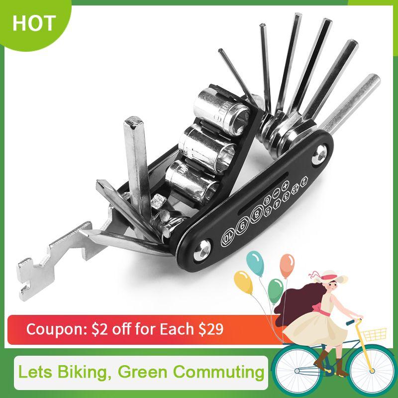 16 en 1 Kit d'outils de réparation de vélo multifonction outil de tournevis vélo à rayons hexagonaux vtt vélo de montagne outil de réparation CT-101