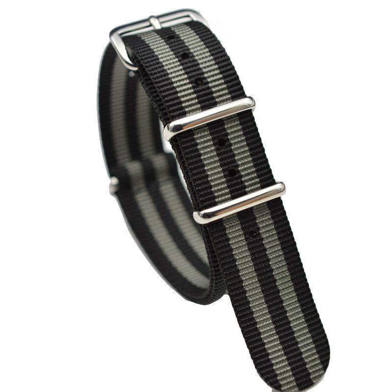 James Bond 007 20mm 22mm Bracelet Nato Montre Bande Hommes Argent Boucle Ardillon Bracelet de Toile