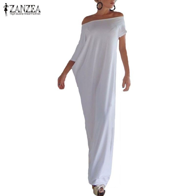 Zanzea Fashion Women Summer Dress 2017 Boho Casual Irregular Long Maxi Party Dresses Sexy Solid Vestidos <font><b>Plus</b></font> Size S-5XL