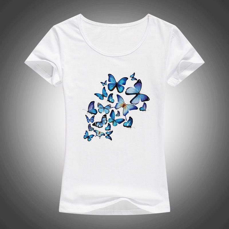 Papillons Imprimé coton t-shirt Femmes T-shirt Harajuku Camisetas Mujer d'été à manches courtes Tops o-cou t-shirt T-shirts Femme 1903