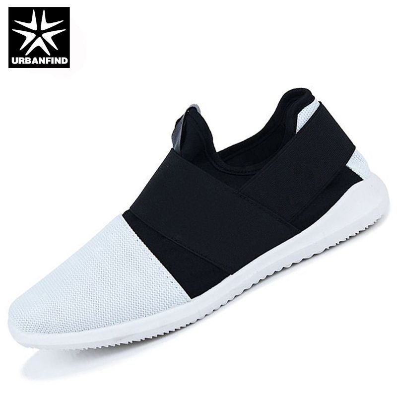 URBANFIND Men Fashion Sneakers Slip-on Footwear Size 39-44 Hot Sale Breathable Mesh <font><b>Upper</b></font> Man Casual Shoes Black / White / Grey