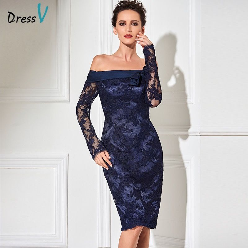 Dressv navy sheath knee length cocktail dress real sexy off the shoulder long sleeves zipper up lace short cocktail party dress