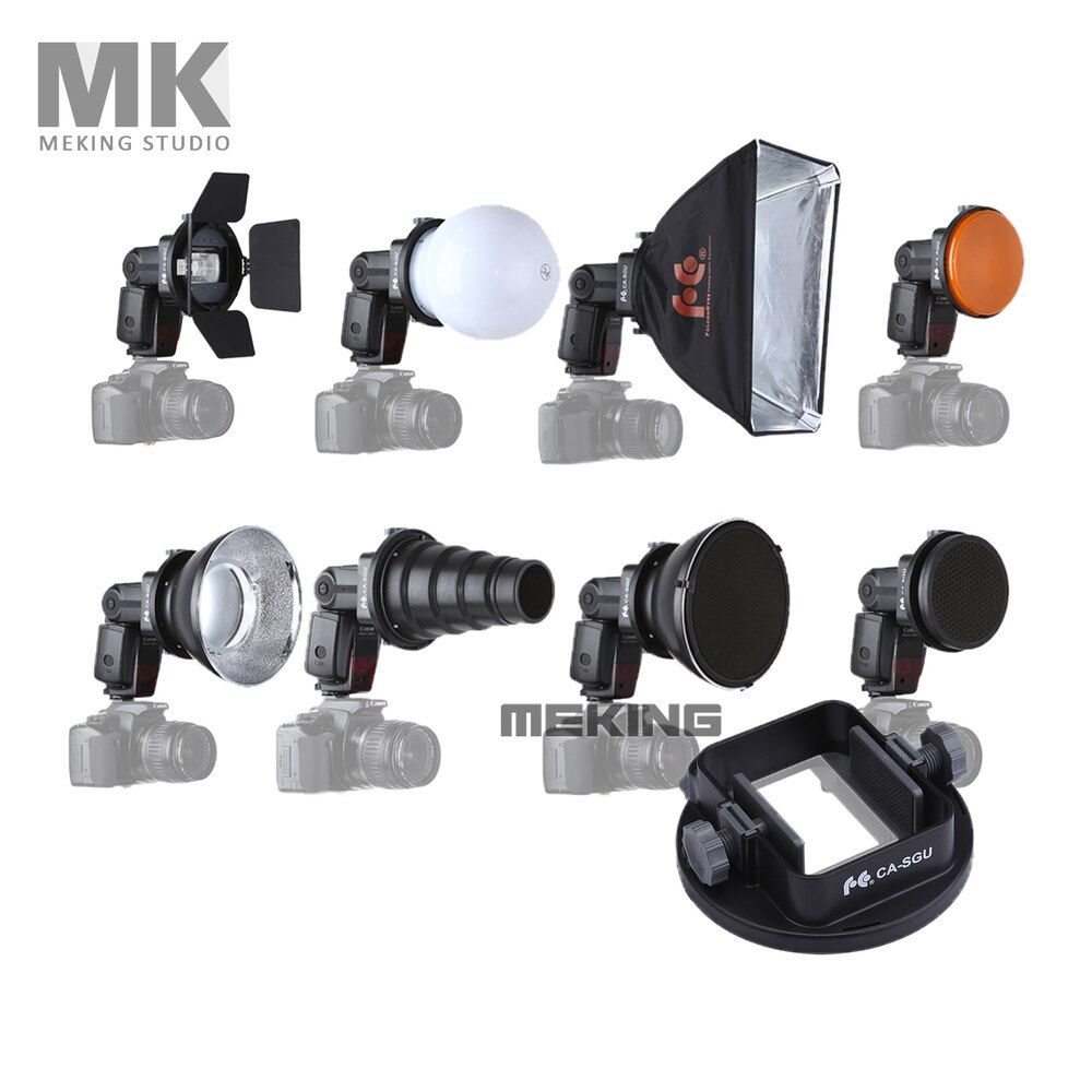 Meking Flash Accessories K9 (Barndoor snoot softbox honeycomb beauty disc/ diffuser mount) for speedlite speedlight flash light