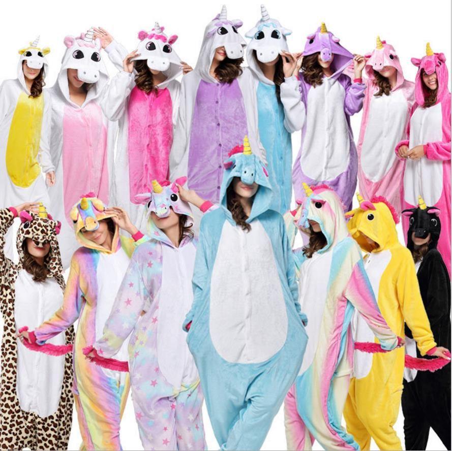 2018 Halloween Anime Pajama Sets Cartoon Sleepwear Women Pajamas Flannel Animal Stitch Panda Unicorn Pajama Winter Warm Hooded
