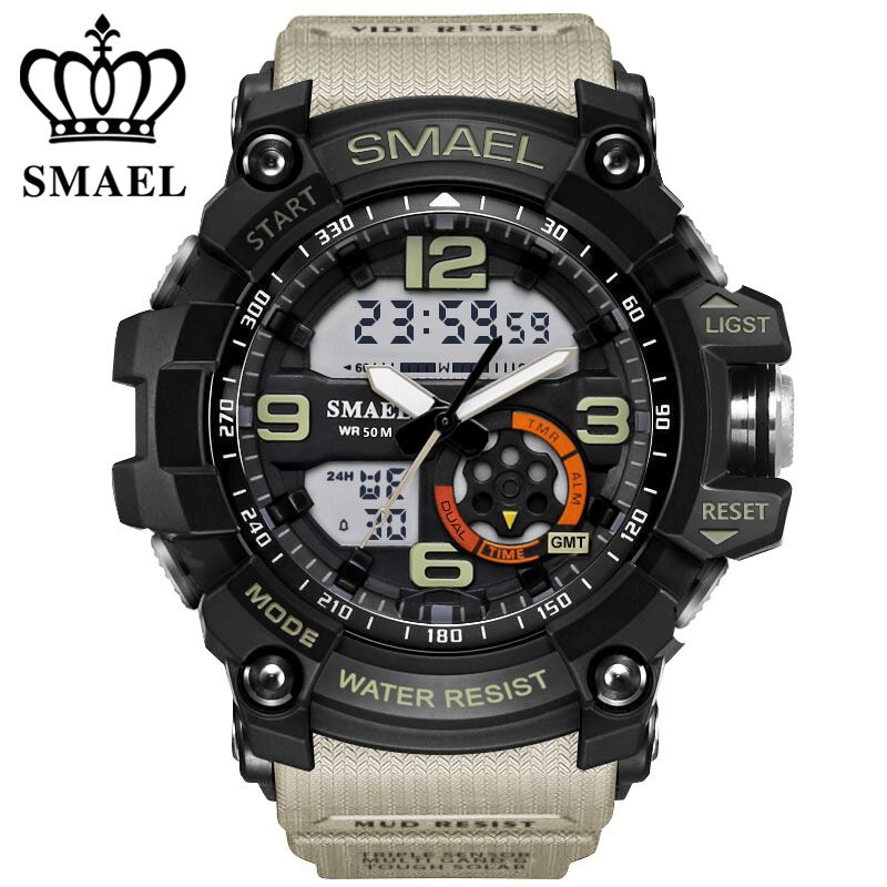 SMAEL Analog-Digital Watch <font><b>men</b></font> sports 50M Professional Waterproof Quartz large dial hours military wristwatches 2018 fashion