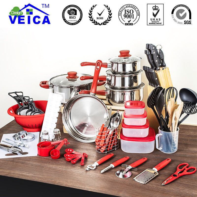 80 Pcs Cooking Sets of tools utensils shovel soup spoon a colander stainless steel and nylon material kitchen tools Cookware Set