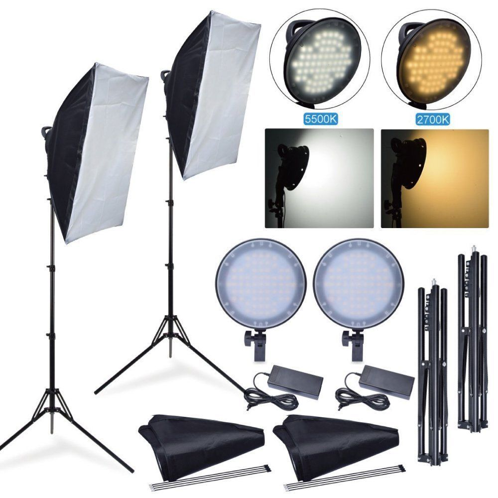 Fotoconic 45W 2700K 5500K LED Dimmable Studio Photo Light + Softbox + Stand Kit for Photography Camera Phone Video Lighting