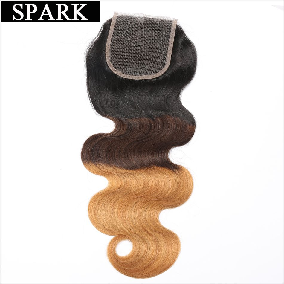 Spark Brazilian Body Wave Lace Closure Free Part 4''x 4'' Remy Hair Closure 1b/4/27 Ombre Color 100% Human Hair Free Shipping