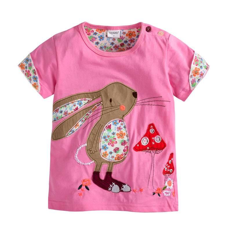 VIDMID Fille t-shirt grand Filles t-shirts chemises enfants chemisier t-shirts grande vente super qualité enfants vêtements d'été veste lapin rose