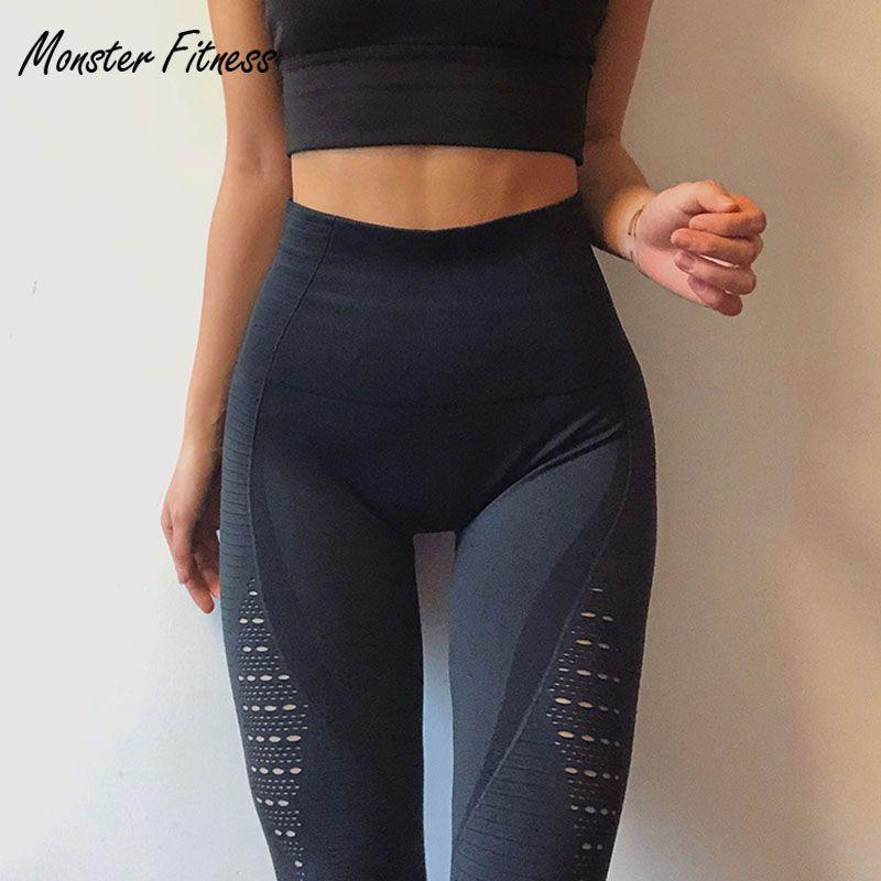 2018 Super Stretchy Gym Tights Energy Seamless Tummy Control Yoga Pants High Waist Sport Leggings Purple Running Pants Women