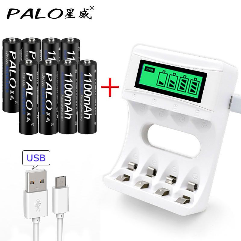 4 Slots Smart USB Intelligent LCD Display Battery Charger For AA / AAA NiCd <font><b>NiMh</b></font> Rechargeable Batteries+8pcs AAA Batteries