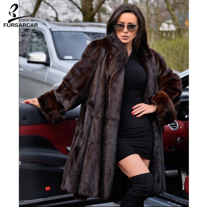 FURSARCAR 2018 Neue Echte Nerz Mäntel Für Frauen Dicke Warme Winter Jacke Weibliche Nerz Pelzmantel Mit Drehen- unten Kragen