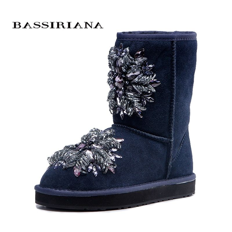 BASSIRIANA - women's fashion blue sheepskin snow boots with crystal decoration Shoes woman Free shipping