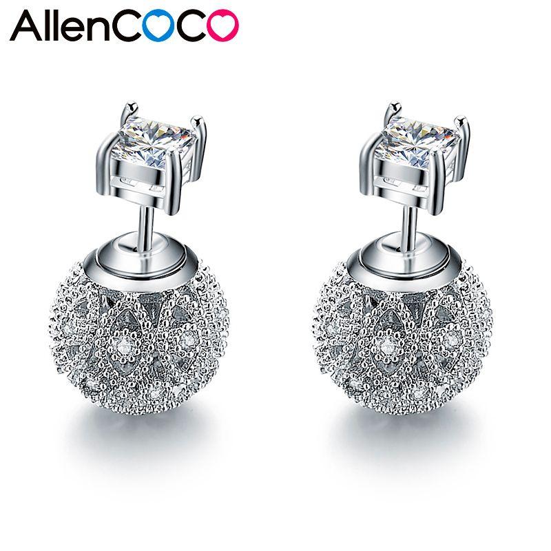 Nouveau mode exquise fleur creuse en forme de balle boucles d'oreilles Double face Micro mosaïque CZ cristaux argent boucles d'oreilles pour les femmes