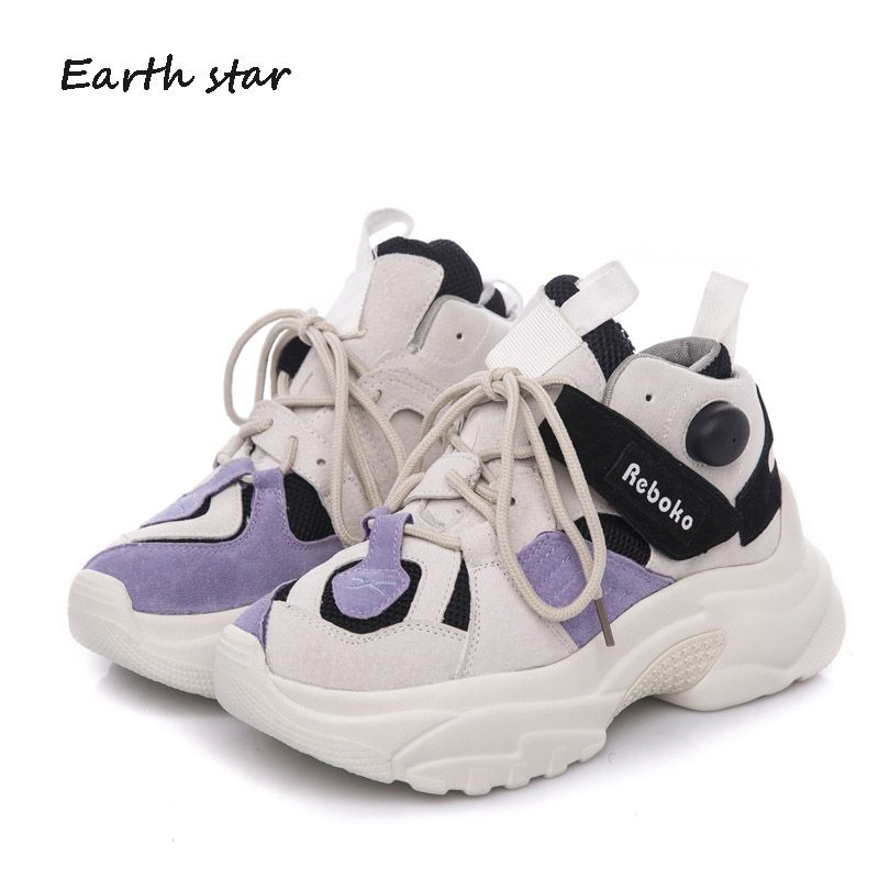 EARTH STAR Platform Shoes Women Fashion Brand Sneaker Lady chaussure Autumn Flock footware Breathable Shoes Cross-tied Quality