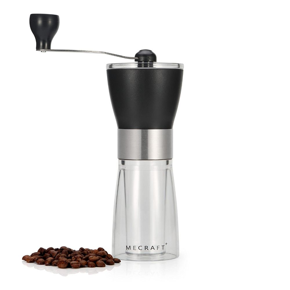 Manual Coffee Grinder, Hand Crank Ceramic Conical Adjustable Burr Mill ABS+PC Material Stainless Steel Ceramic Core Kitchen